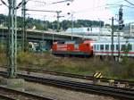 120-153120-501/77818/120-501-2-wartet-in-ulm-vor 120 501-2 wartet in Ulm vor einem Messzug auf den nächsten Einsatz, am 19.09.2005.